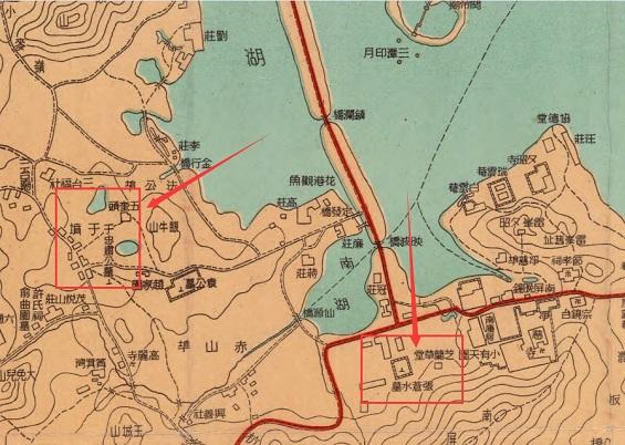 1946年《最新杭州市地图西湖全图》张苍水墓与于谦墓位置示意